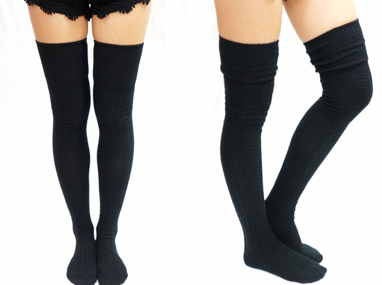 a9ae0df91 Cozy Cable Knit Thigh high socks Boot socks -Black · Sandysshop ...