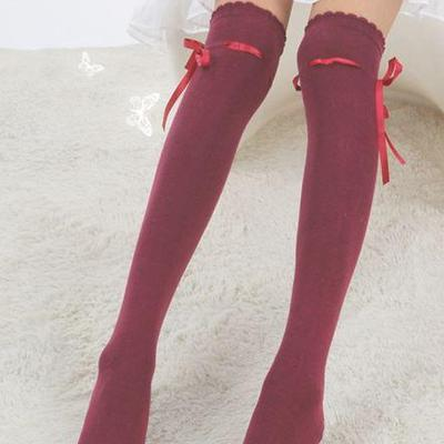 7990ff9bcc5 Dark wine red ribbon threaded bow over the knee high socks kawaii stockings  otks classic gothic