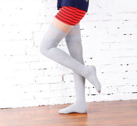 4fb9e64fa light gray grey lace top ribbed over the knee socks OTKs long stockings  gyari ulzzang · Tokimeki Lace · Online Store Powered by Storenvy