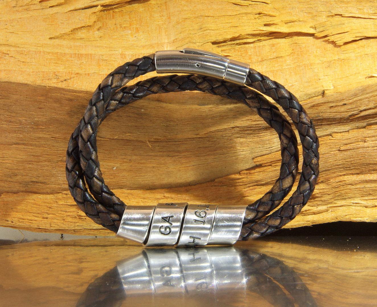 59e0b6aad06ac6 Mens Personalized Bracelet, Hand Stamped Brown Bracelet, Men's ...
