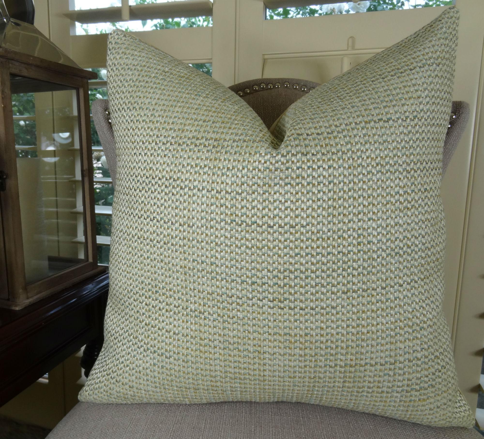 20 X 20 Luxury Decorative Throw Pillow Cover Light Green Tan