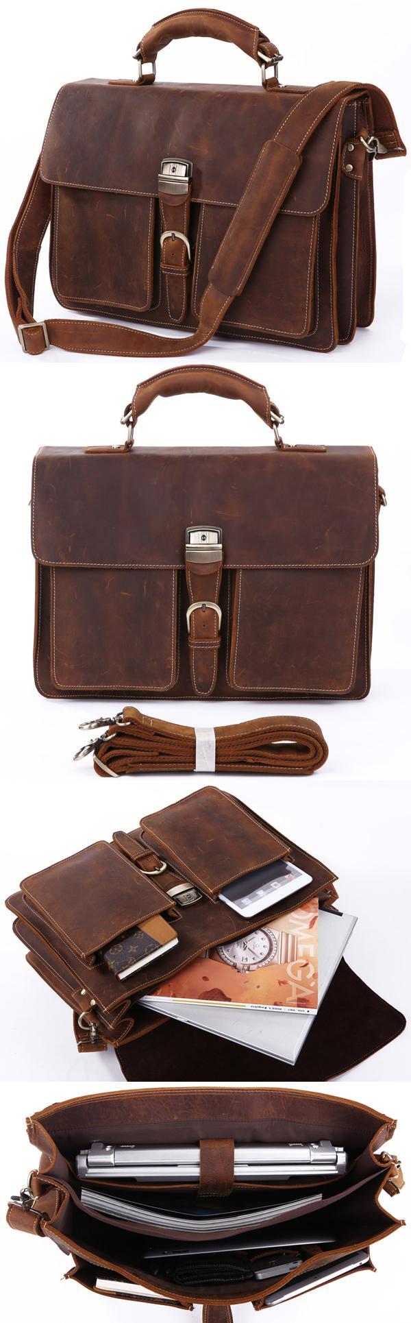d887b87f2 ... Men's Handmade Vintage Leather Briefcase / Leather Messenger Bag / 15