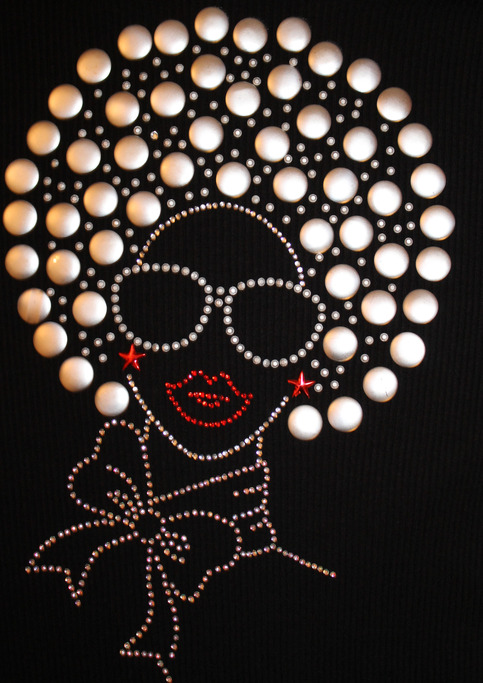 Diva Fashion Girl Lady Woman With Afro Rhinestone Rhinestud Embellished Bling T Shirt Or Tank