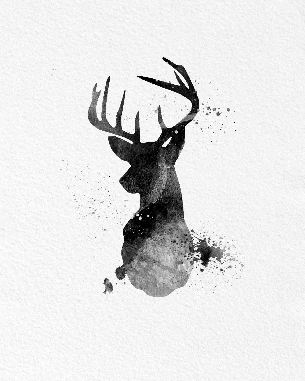Animal Coffee Mugs Watercolor Art Buck Deer Gift Modern 8x10 Wall Art Decor
