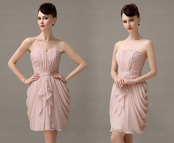 Blush Pink Bridesmaid Dress, Blush Pink Dress, Short