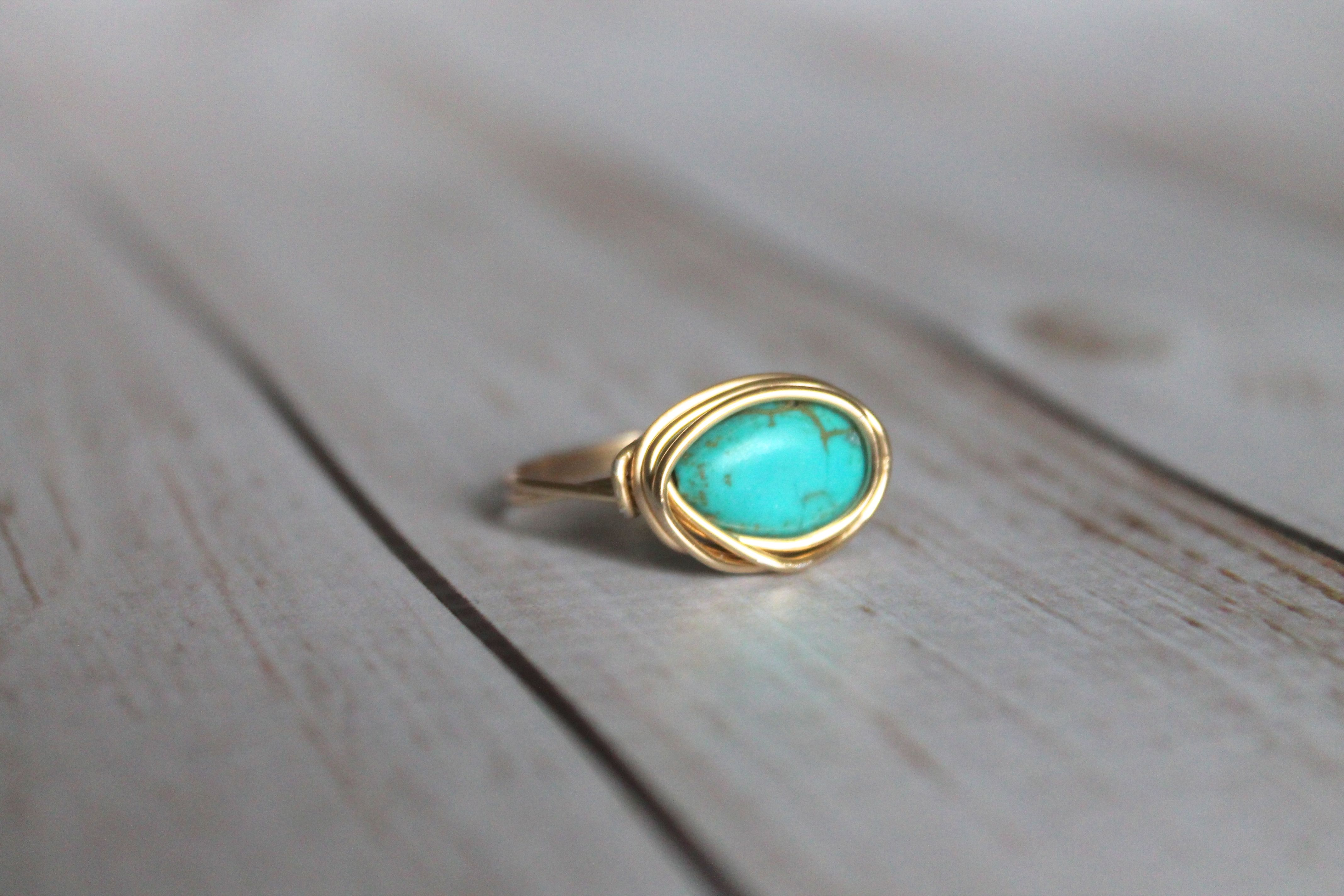 Turquoise Teardrop Magnesite Gold Ring | Wire Wrapped Ring | Stone ...