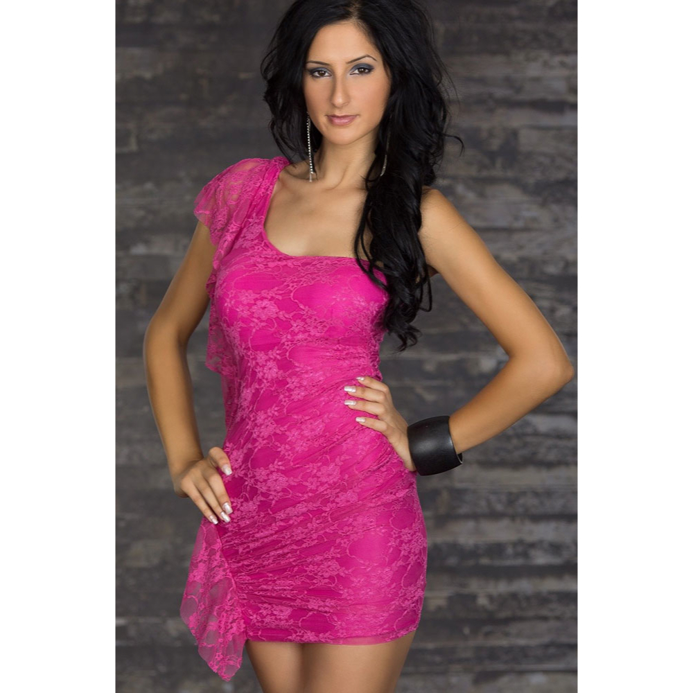 2644626838 Sexy pink lace mini dress one shoulder style lc2592 3 3 original