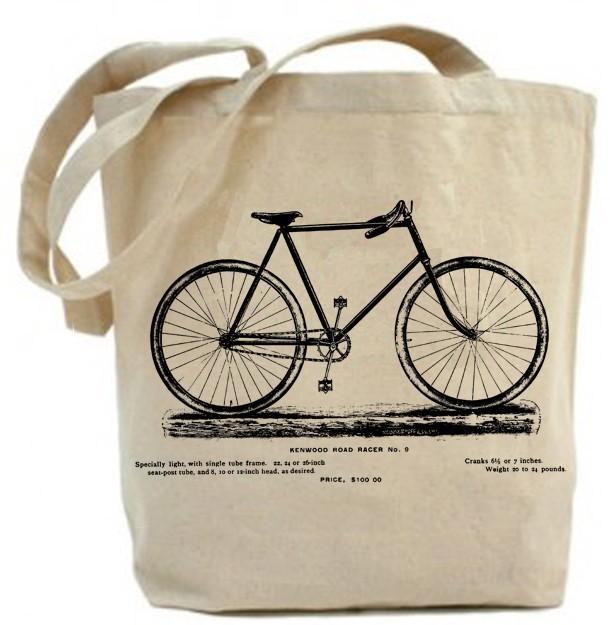 vintage bicycle tote bag canvas tote bag recycled paisleymagic
