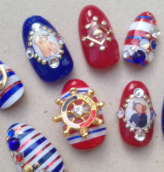 Pinup Girl Nautical Nails With Stripes Kawaii Full Well False 3d