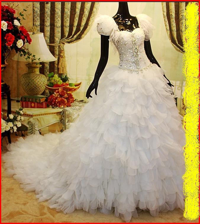 Wedding Gowns With Swarovski Crystals: YZ Sweet Heart Neck Organza Ruffles Swarovski Crystal Ball