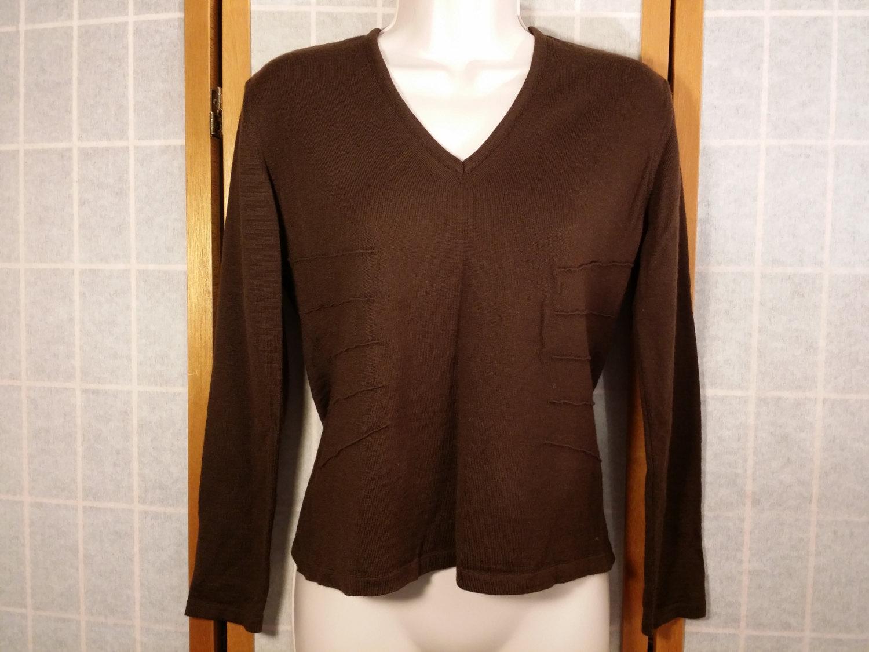 Vintage Clorinda Italian Merino Wool Blend Chocolate Brown Sweater