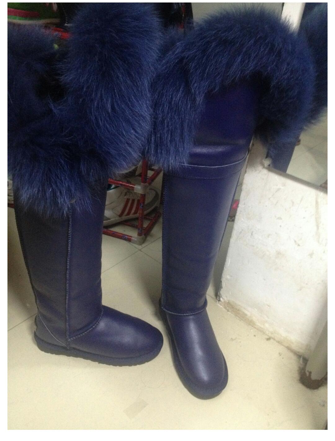 navy blue knee high fur boot · J Lane
