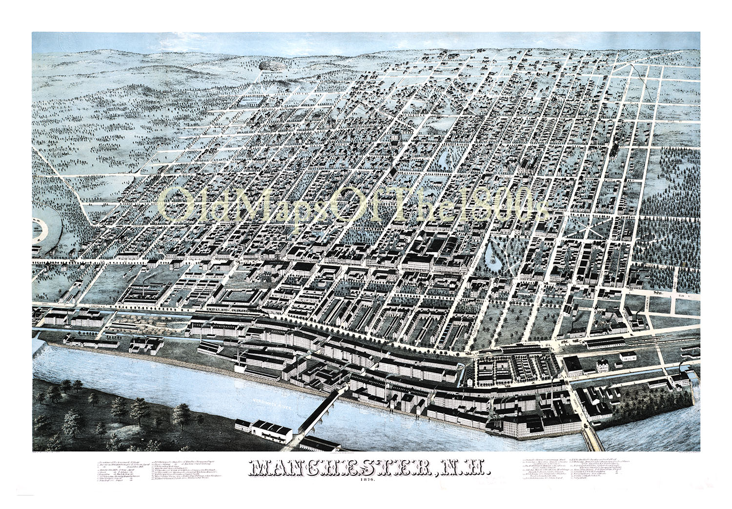 Manchester, NH in 1876 - Bird\'s Eye View Map, Aerial map, Panorama ...