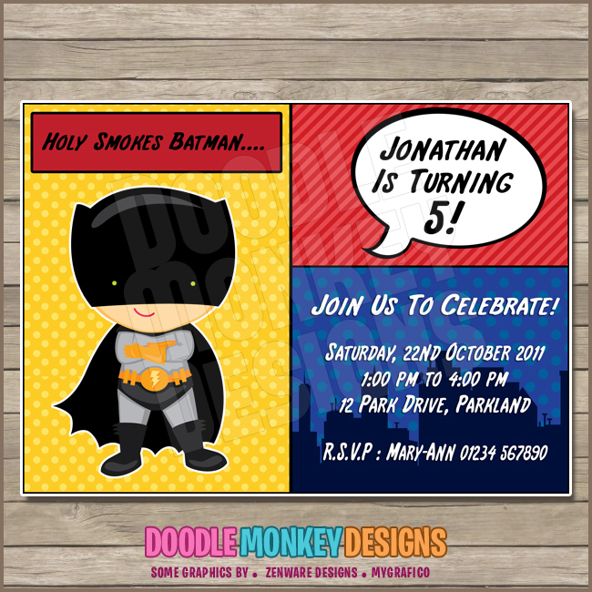 Batboy V2 Batman Party Invitation Diy Printable Digital Invite