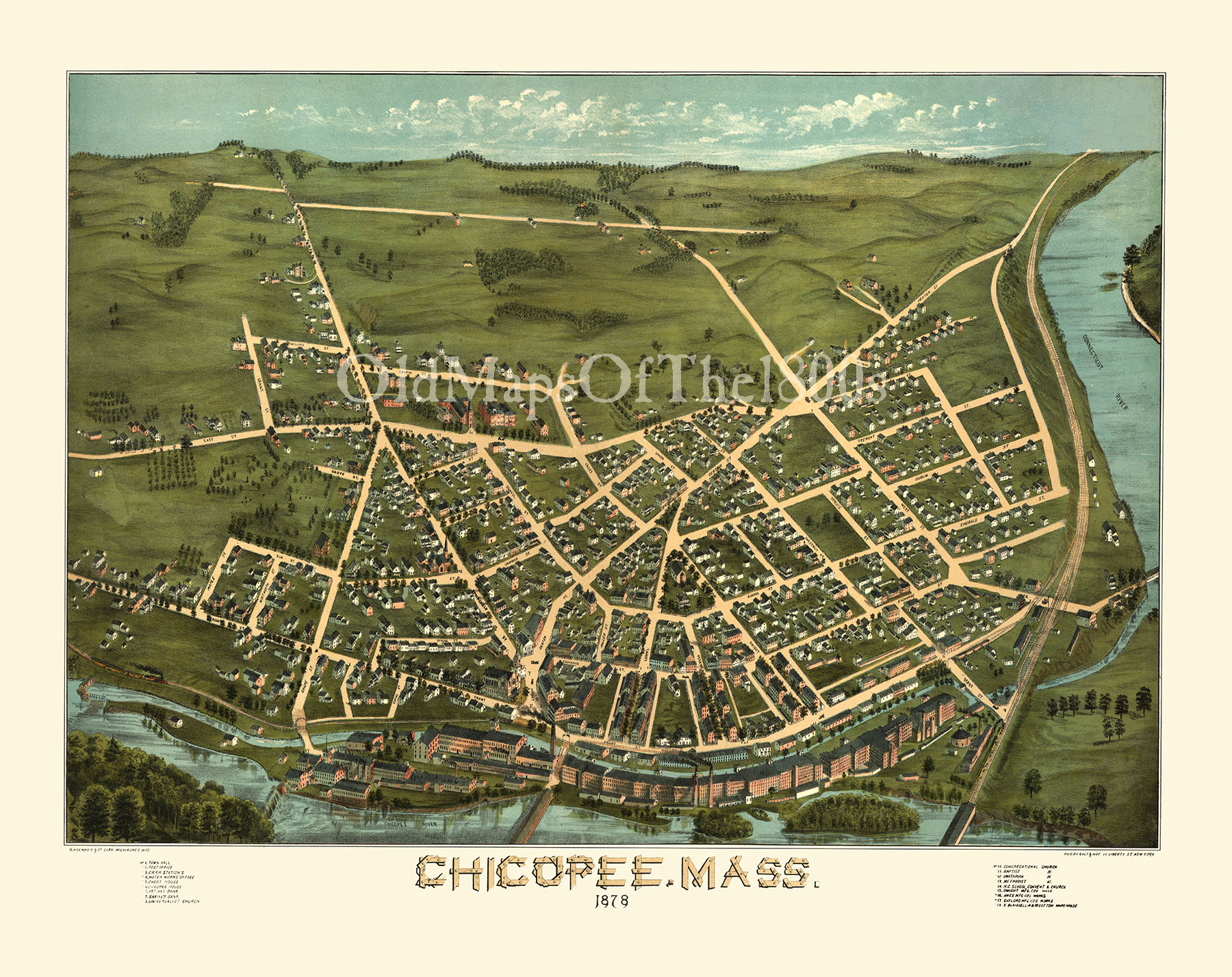 Chicopee MA in 1878 Birds Eye View Map Aerial Map Panorama Map