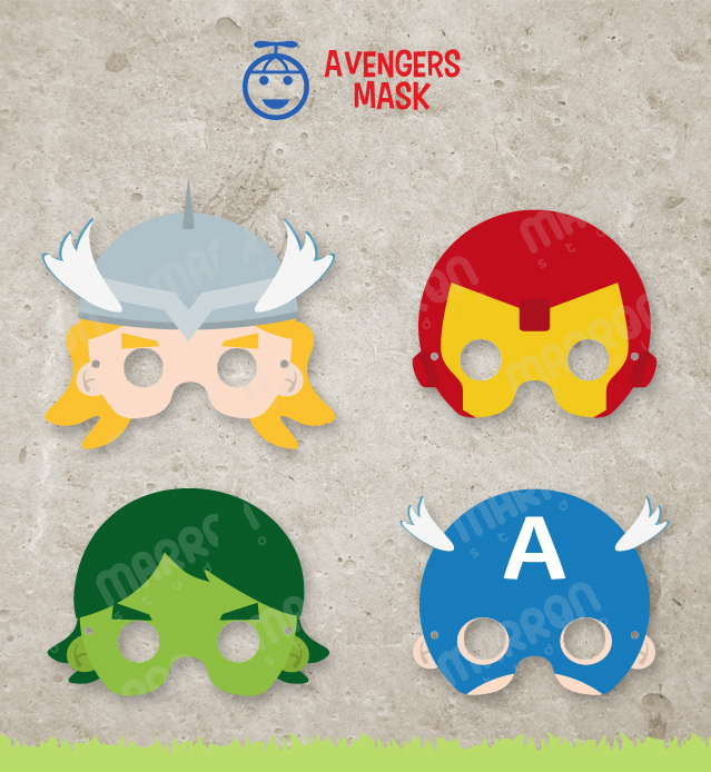 graphic relating to Superhero Printable Mask identified as Superhero Influenced established Avengers Mask, Thor, Captain The united states, Iron Gentleman and Hulk Printable for birthdays, Electronic Down load offered through Marron Studio