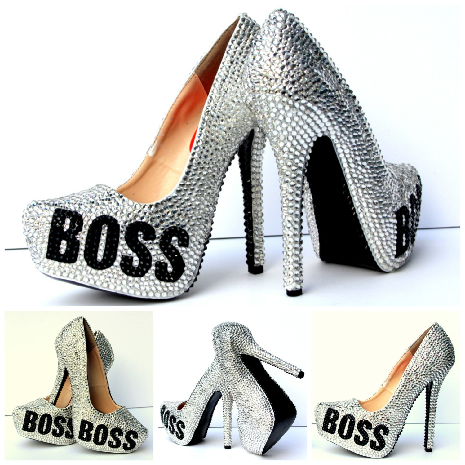 d6b82d25f BOSS High Heels covered in Swarovski Crystals with black glitter ...