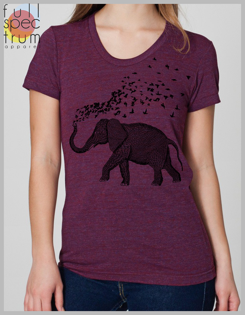 f7d100851 ... Elephant Parade Women's T Shirt Hand Drawn and Printed Elephant with Birds  American Apparel Tee S ...