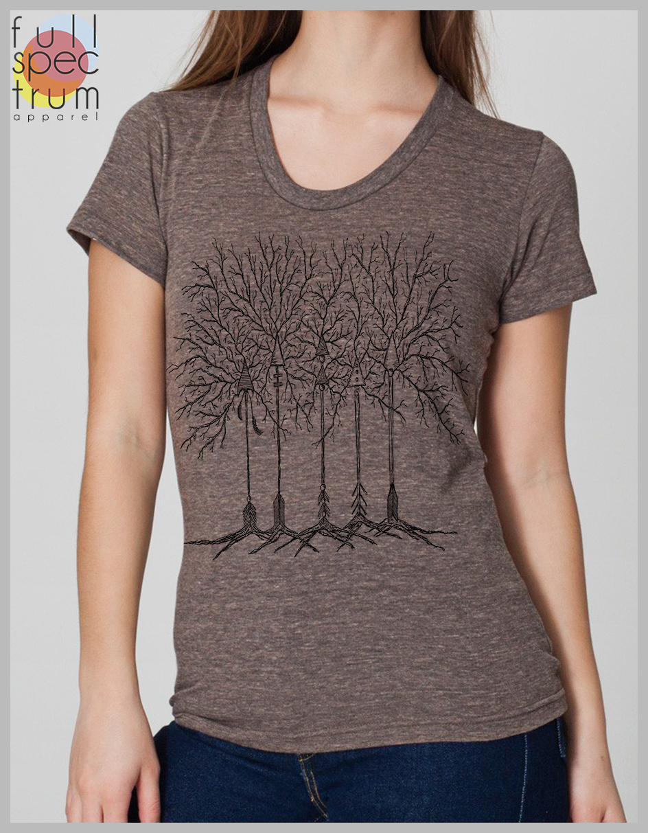 Arrow Trees Womens T Shirt Hand Drawn And Screen Printed American
