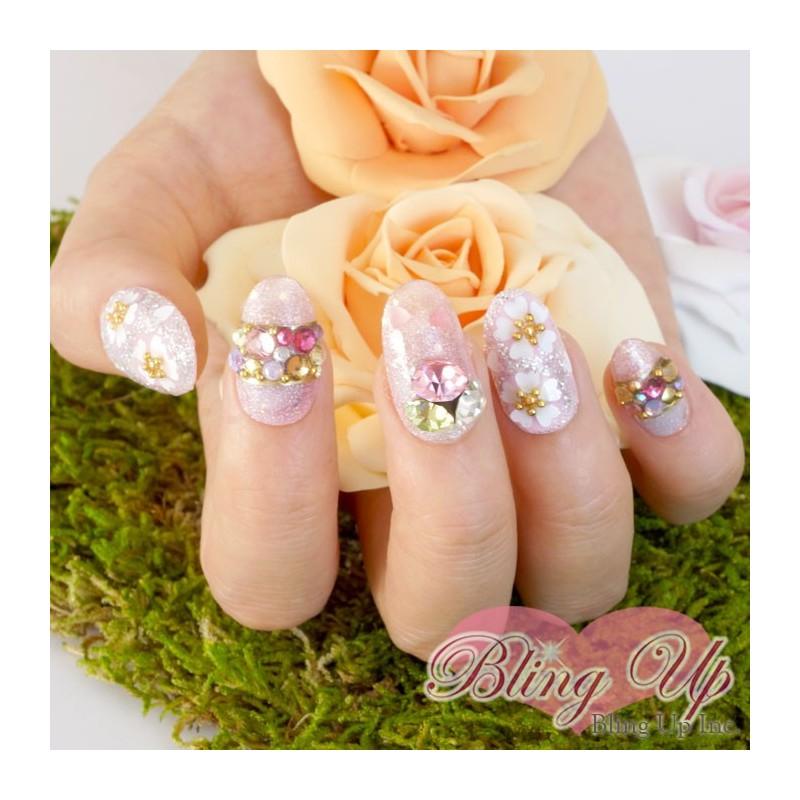 Shimmer Pink Japanese Sakura Cherry Blossom 3d Bling Nail Art With