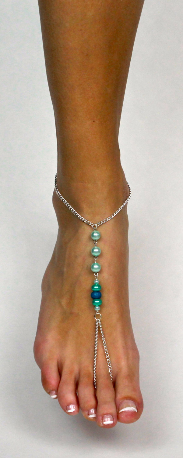 f934648a9c Light Blue Chained Barefoot Sandals Blue Ombre Anklet Foot Jewelry Foot  Thong Bare Foot Sandals Barefoot Sandle Beach Wedding Gift for Bride from  Bare ...