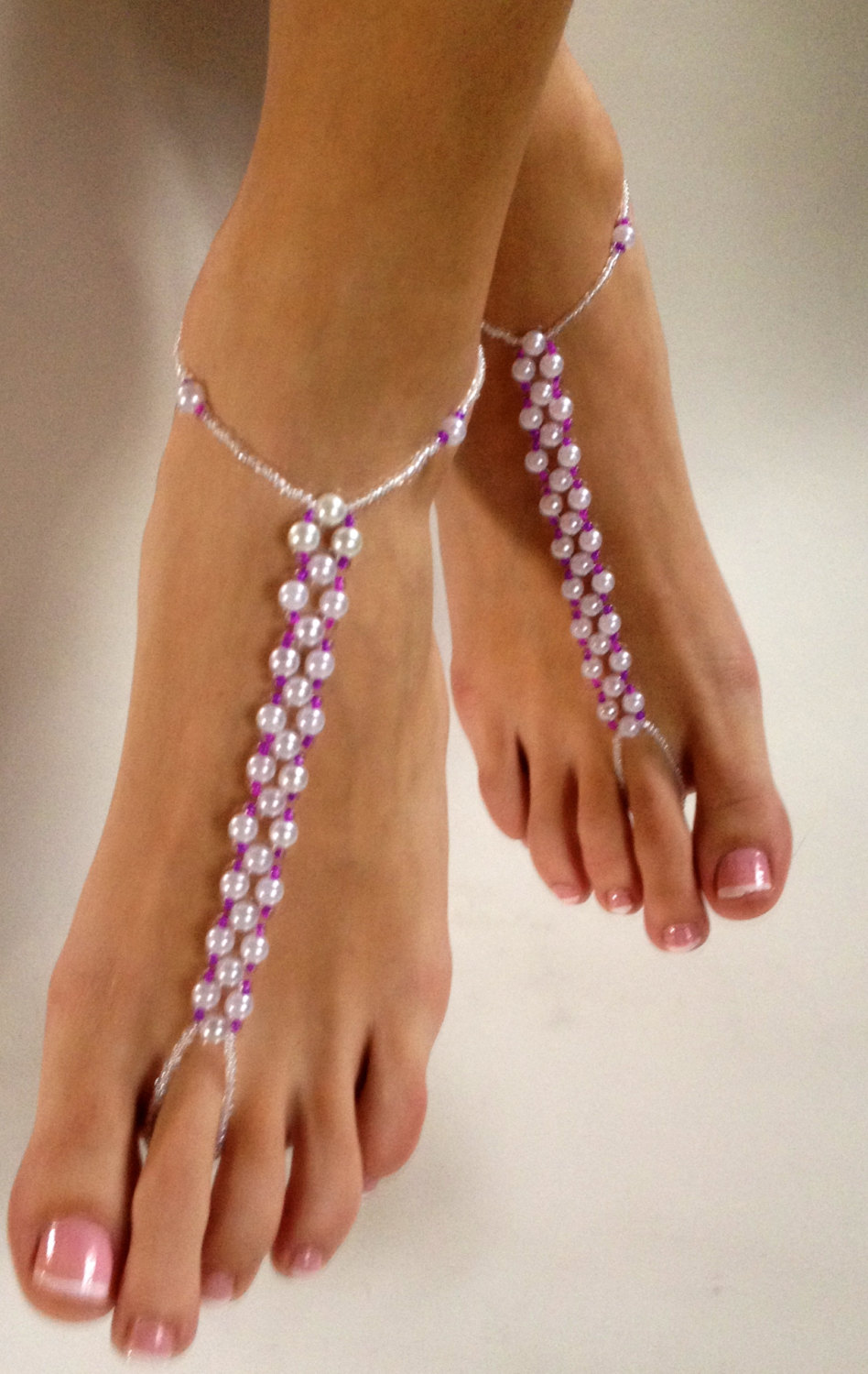 e96614d47c205 Pearl and Fusia Hot Pink Barefoot Sandals Foot Jewelry Foot Thong ...