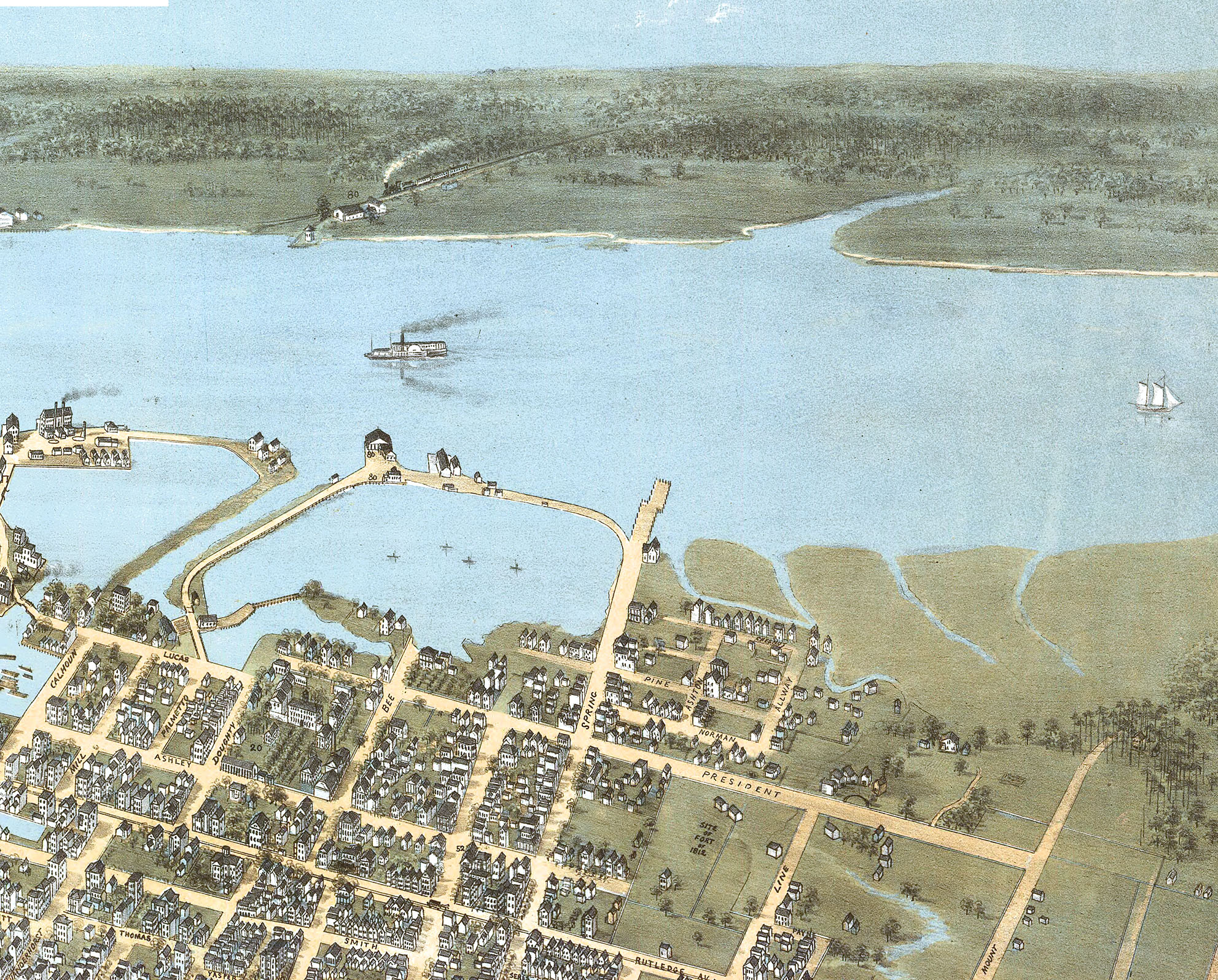 20x30 1872 Charleston South Carolina Vintage Old Panoramic City Map