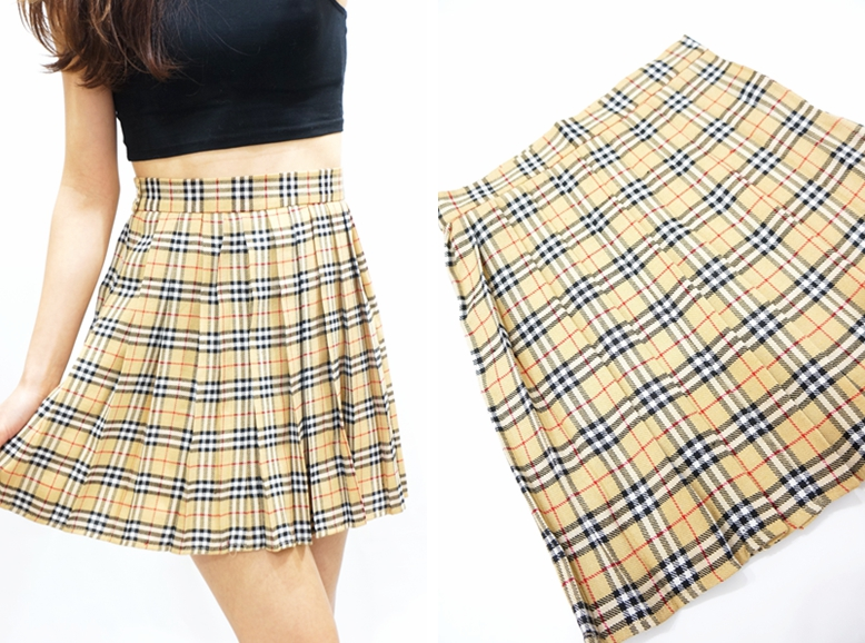 388ef729537a Beige Plaid Pleated Skirt - Beige · Sandysshop · Online Store ...