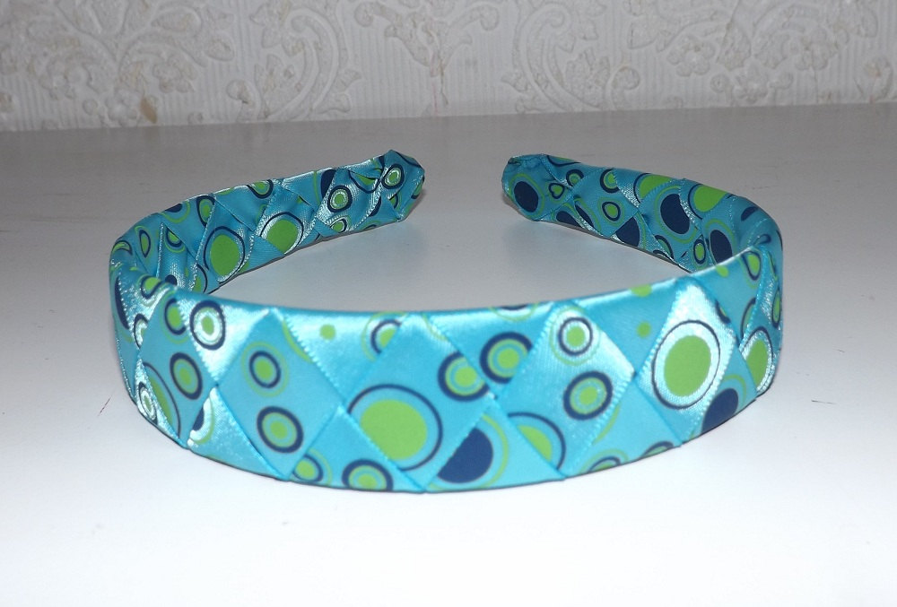 eadd52a564d91 Woven Ribbon Headband - Aqua Blue with Green and Navy Dots - Thumbnail 1 ...