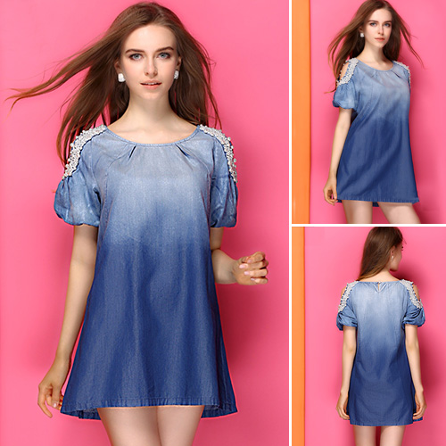 ec0d1104b6 lilystyle | Fashion Round Neck Short Sleeve Beaded Denim Dress ...