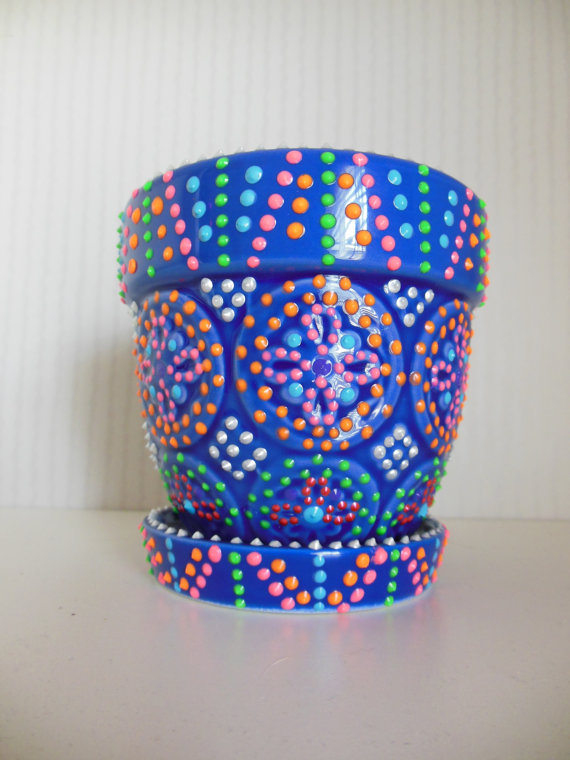 Storenvy & Blue Hand Painted Flower Pot sold by El Pollito