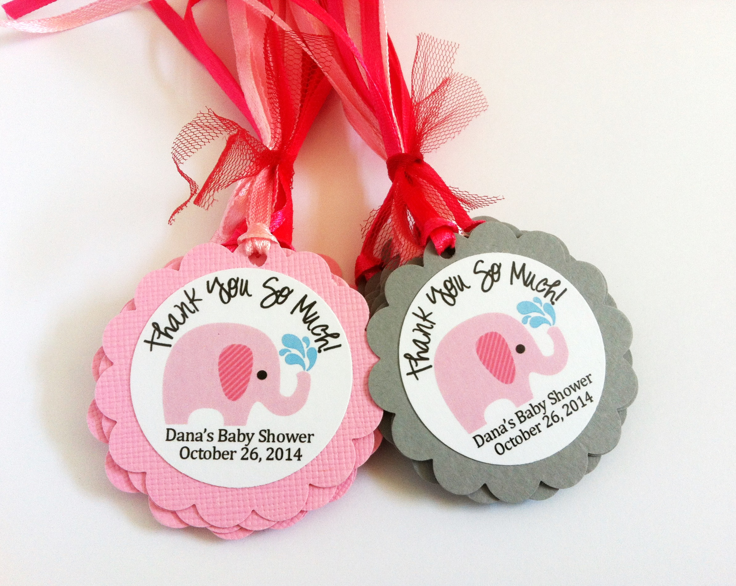 Pink Elephant Favor Tags for Baby Girl Shower Party, Personalized on ...
