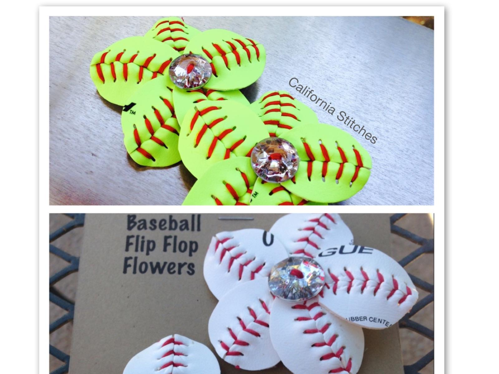 43bde14fb Bling Button Baseball or Softball Flip Flop Flowers