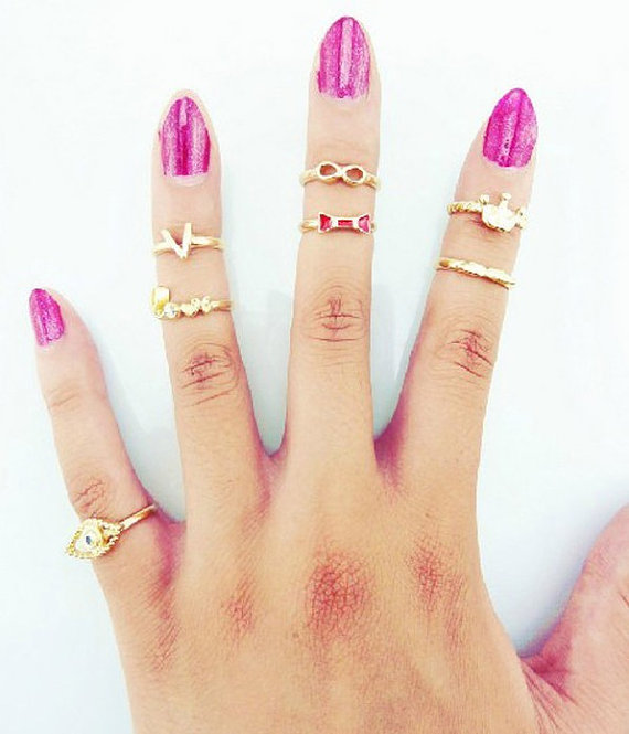Ring Set Midi Ring Set Gold Ring Set Charm Ring Midi Ring