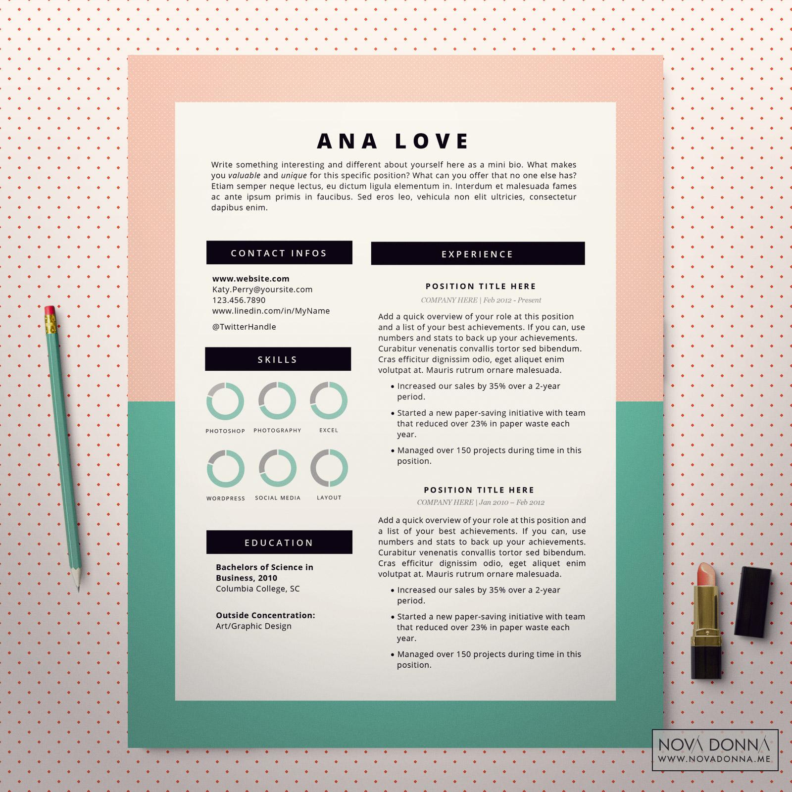 Istant Designer Resume | Resume Template Cv Template Design For Word Cover Letter
