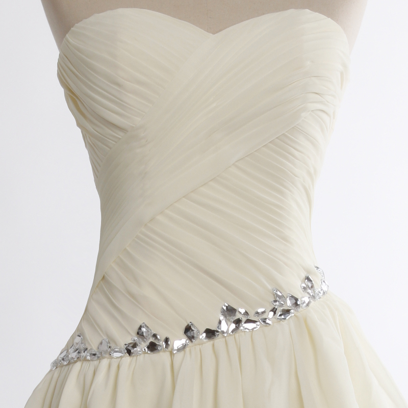 1e5aa5d5a43 ... Adorable Champagne Asymmetrical Prom Gown