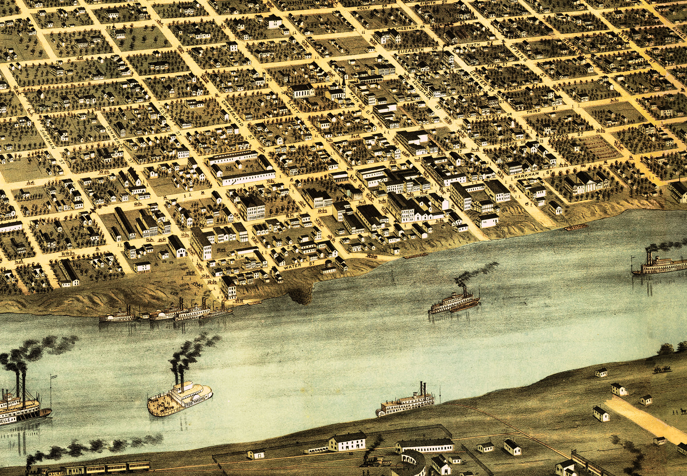 Little Rock, Arkansas in 1871 - Bird\'s Eye View, Aerial, Panorama, Vintage,  Antique Map, Reproduction, Giclée, Fine Art, Wall Map, History from The ...