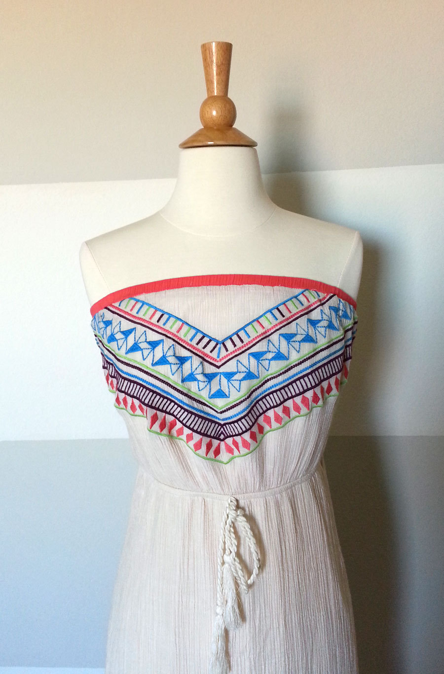 Boho paisley tribal IndianAmerican festival maxi dress Pink Cotton Front embroidered neck maxi dress Cotton fallsummer maxi silhouette