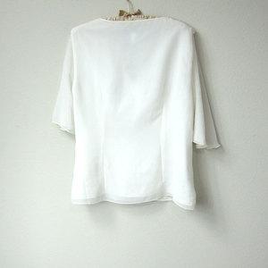 d299153e472 ... Flowy Boho Gypsy Embellished and Embroidered Chiffon Short Sleeve Sheer  White Blouse