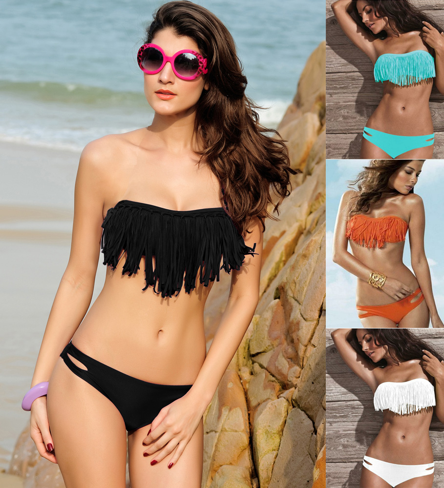 60a6b2c2c19f1 Sexy Women's Tassels Bandeau Bikinis Set Ladies Push Up Swimwear ...
