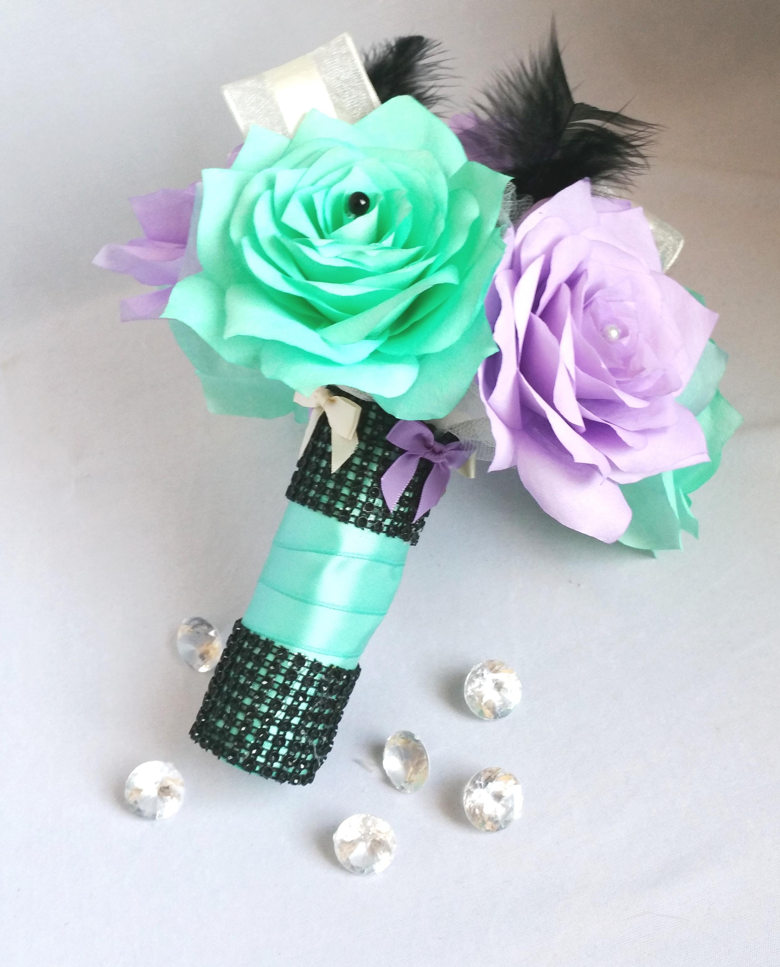 Lavender and Tiffany blue bridal bouquet, Tiffany blue ribbon ...