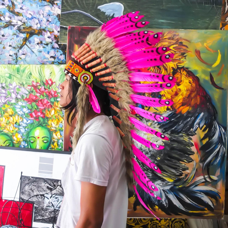 HANDMADE INDIAN HEADDRESS 90CM FEATHERS American Chief Costume war bonnet