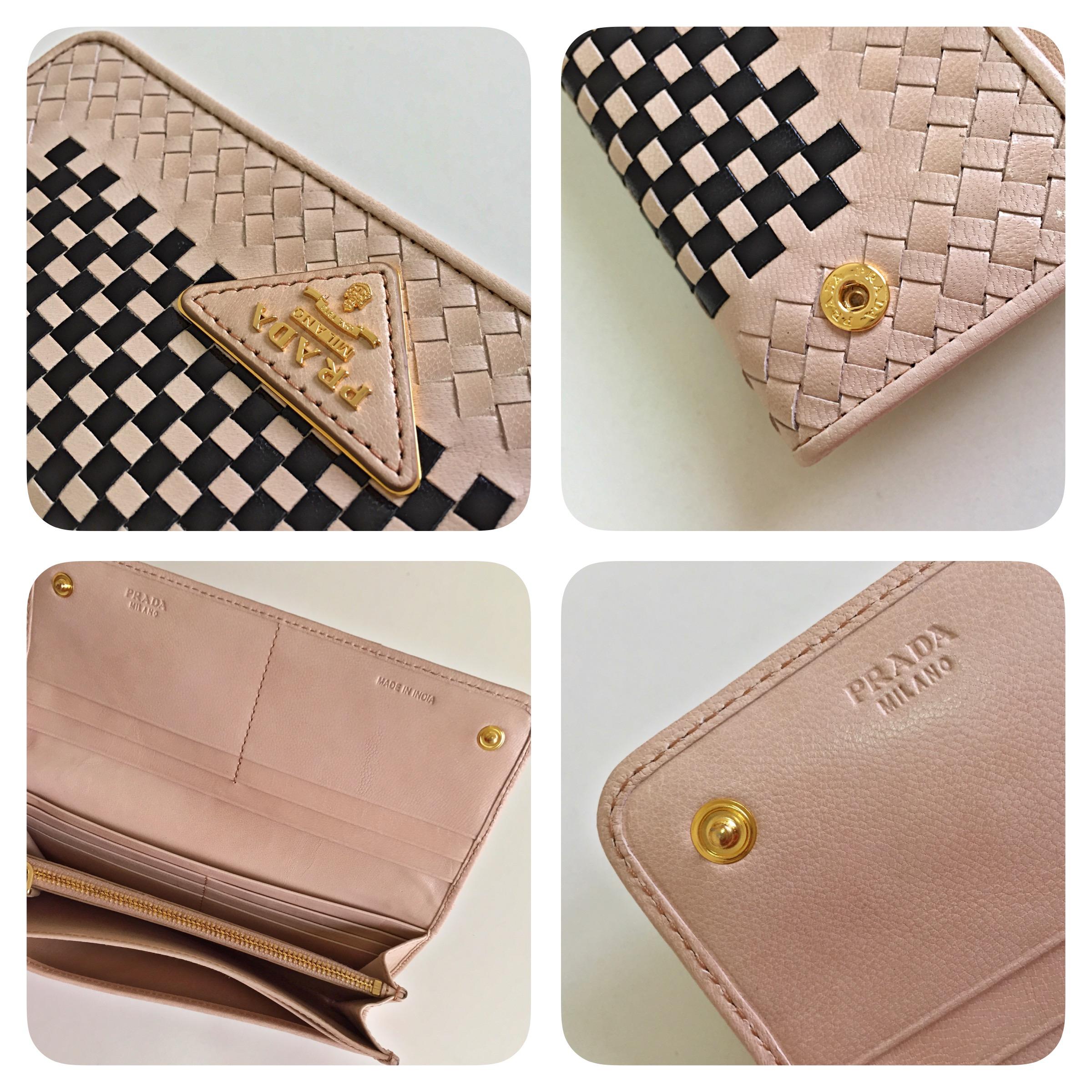 e36551127d47 PRADA Madras Beige + Nero Continental Wallet on Storenvy