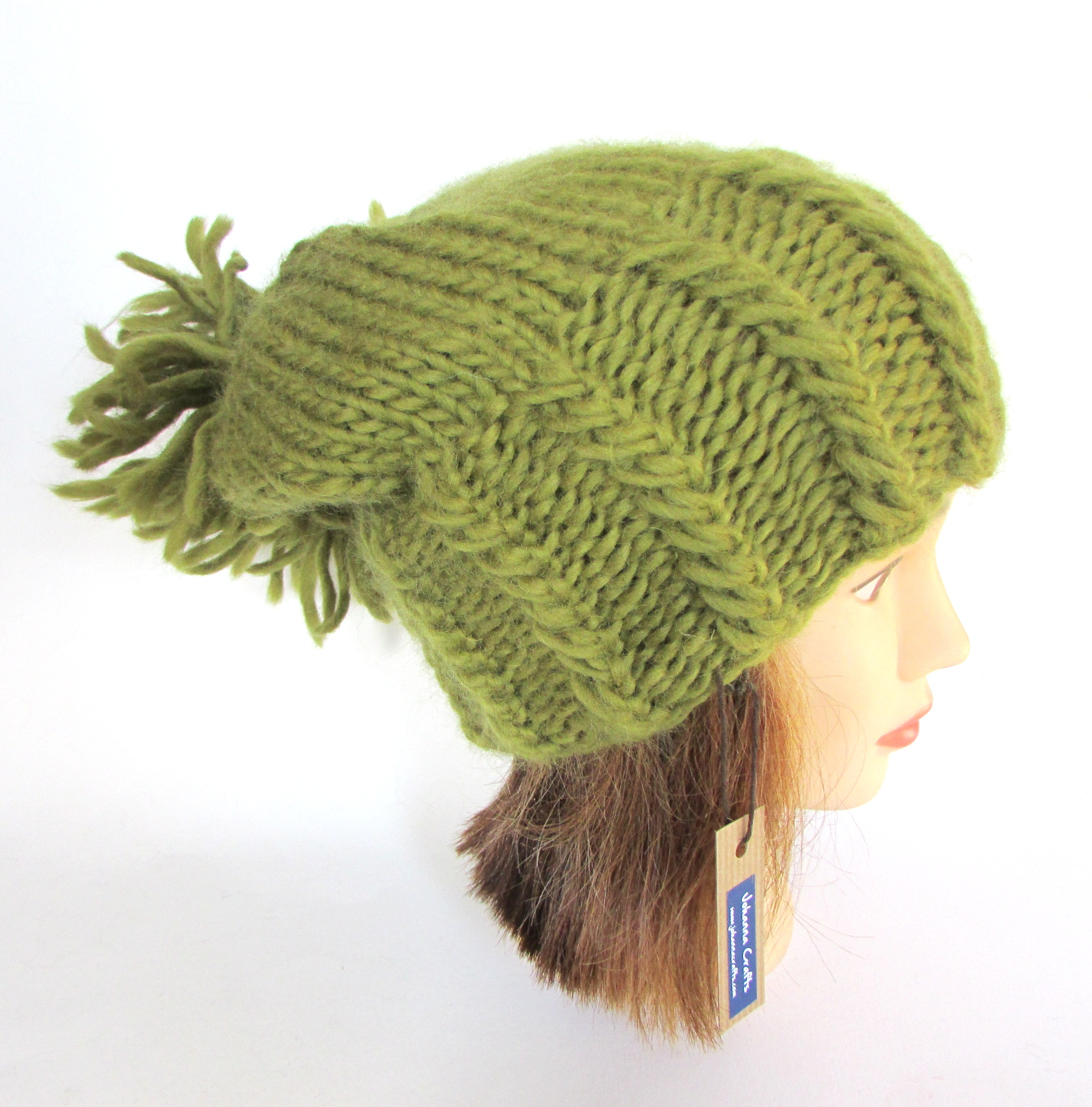 dfc4caadb06 Irish hand knit olive green hat with large pom pom - chunky knit fun ...