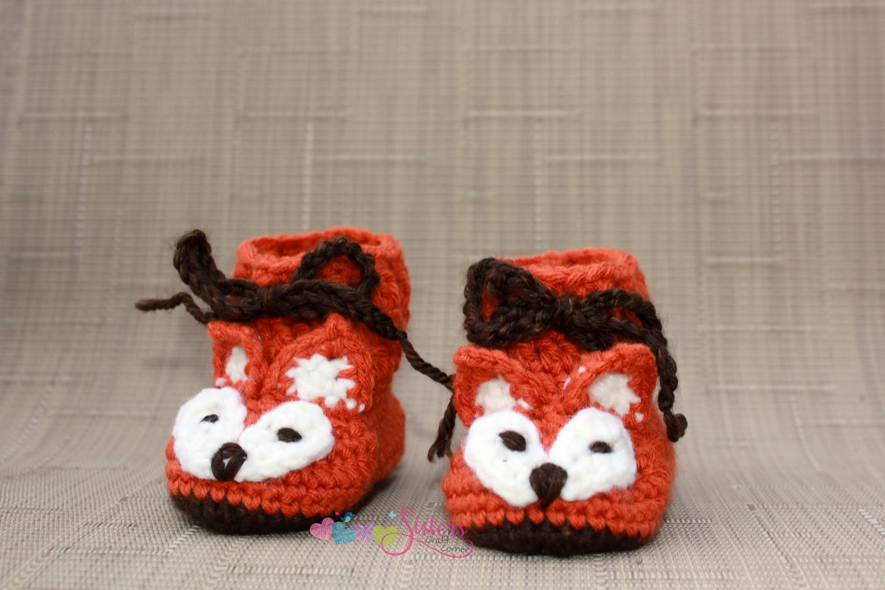 Baby Fox Booties Crochet Baby Boots Baby Booties Crochet Boots Baby Baby Shower Gift Orange Brown White
