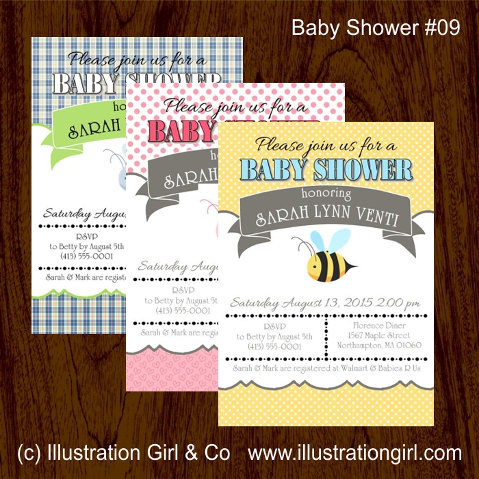 Bumble Bee Baby Shower Invitation Illustration Girls Shop