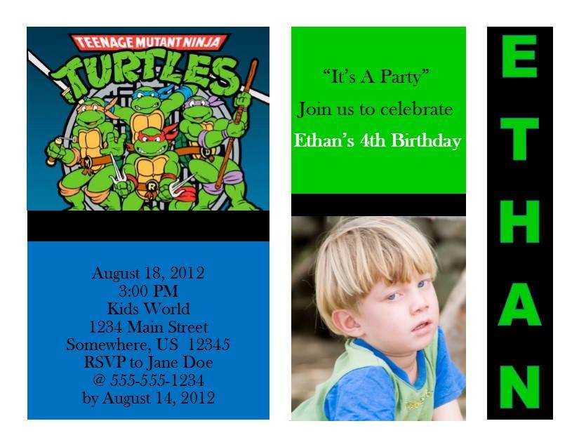 Teenage Mutant Ninja Turtles Birthday Invitation 1