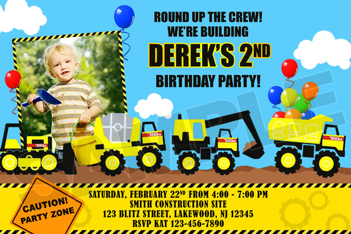 Construction Tonka Birthday Party Photo Invitations