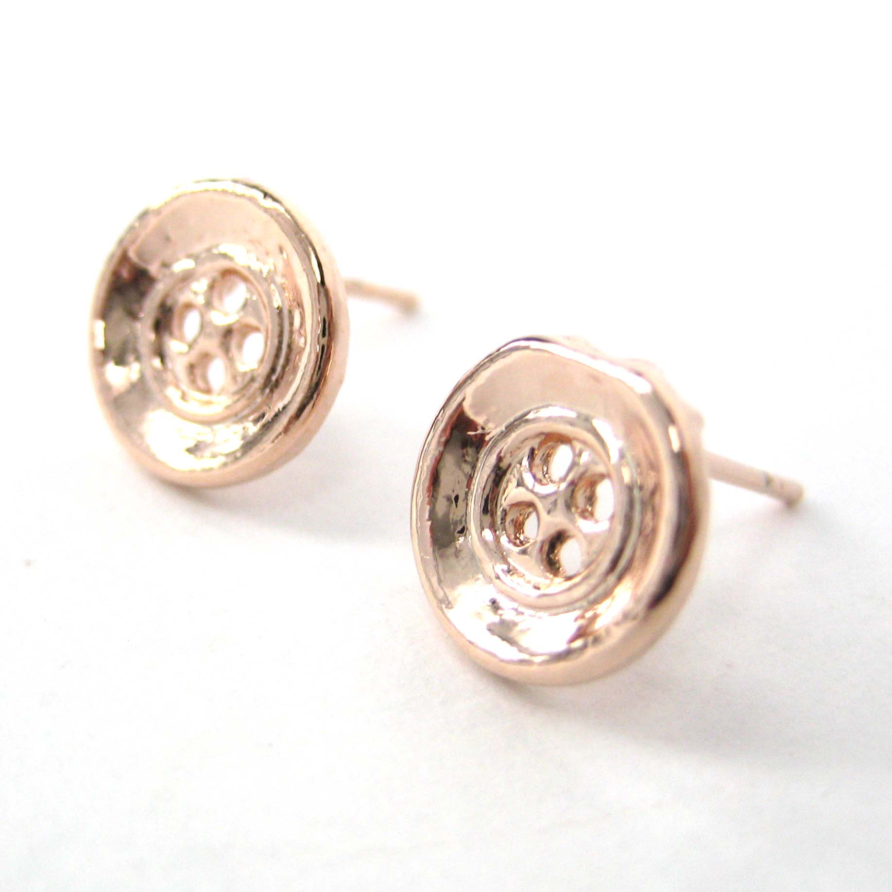 7e0e721d1 Dotoly Plus | Small Round Button Stud Earrings in Rose Gold | Online ...