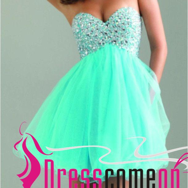 2016 Mint Green Short Homecoming Dresses Empire Sweetheart Neckline ...